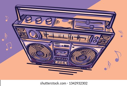 Funky colorful drawn boom box tape recorder