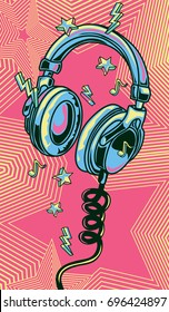 Funky colorful drawn musical headphones