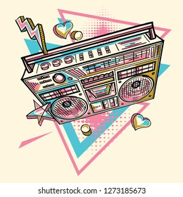 Funky drawn boom box