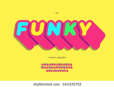 Funky font 3d cute style for summer party poster,book, t shirt, flier, decoration, card, sale banner, printing on fabric, industrial. Cool typeface. Trendy alphabet. Vector 10 eps