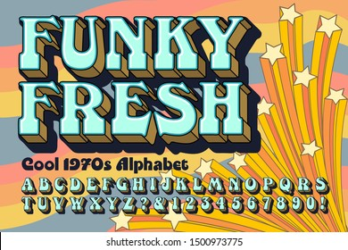 A funky and fresh alphabet font design in the style of groovy 1970s lettering; background contains shooting stars in a cartoon style.