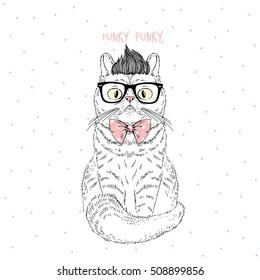 funky geek cat, hand drawn fashion animal illustration