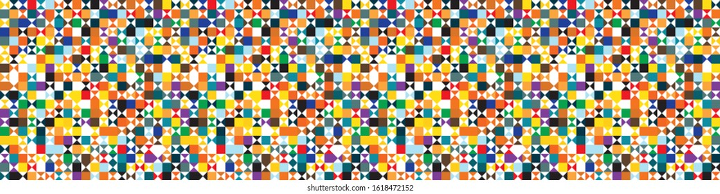Funky geometric mosaic vector seamless border pattern. Hand drawn playfull birdies colorful banner background. Trendy colorful gender neutral kid edging. Children cute triangle ribbon trim