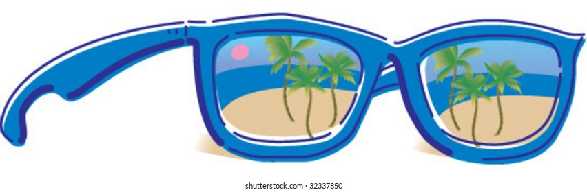 funky glasses reflecting beach