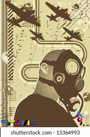 Funky graphic template featuring a character wearing a gas mask.
