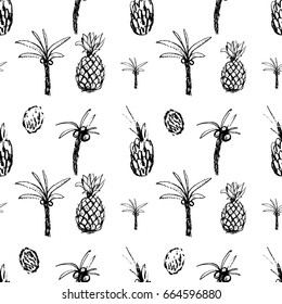 Funky hand drawn palms and pineapples in seamless pattern in vector. Black set of exotic fruit and palms on white isolated background