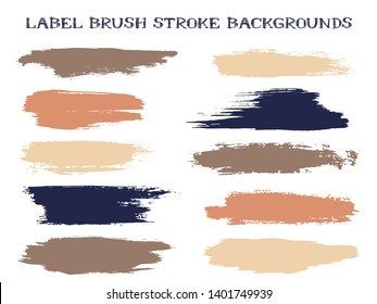 Funky label brush stroke backgrounds, paint or ink smudges vector for tags and stamps design. Painted label backgrounds patch. Interior colors guide book elements. Ink dabs, pink brown splashes.