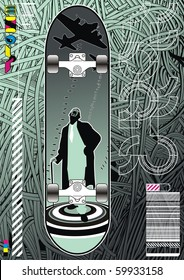 Funky layout featuring a skateboard design on a wire background.
