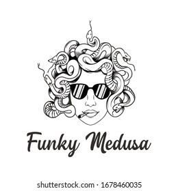 funky medusa logo design vector