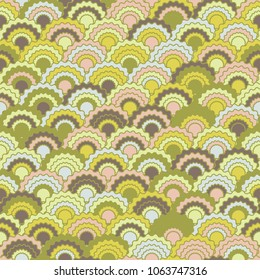 Funky mermaid scales squama background, vector seamless fabric pattern, tiled textile print. Traditional chinese squama scales seamless arc tiles ornament. Roof pattern.