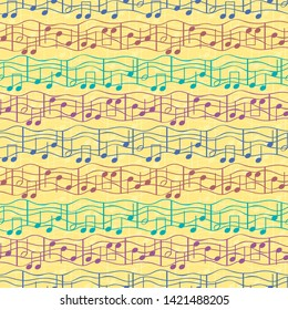 Funky multicolor musical notes on doodle lined staff in striped effect geometric design. Seamless vector pattern on textured yellow background. Great for birthday, novelty products, stationery, gifts