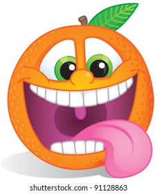 Funky orange fruit character with wide smile and teeth exposed for orange-flavored fruit candy or drink