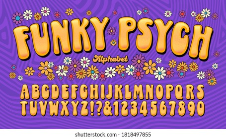 Funky Psych is a late 1960s or early 1970s fun and humorous lettering style, enhanced with flower designs and a striped background.