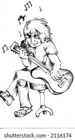 Funky rock musician - vector illustration