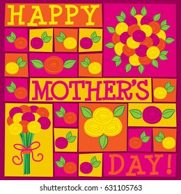 Funky roses Mother's Day card in vector format.
