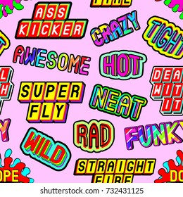 Funky seamless pattern with slang words and phrases: dope, straight fire, funky, hot, deal with it, wild, crazy, awesome, etc. Patches, badges, pins, stickers in 80s comic style. Pink background.