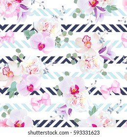 Funky seamless vector pattern in purple, pink and white tones. Peony, violet campanula, orchid, eucalyptus. Seamless vector print with navy blue geometric ornament