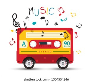 Funky Vector Music Design with Retro Red Audio Cassette on Wheels and Colorful Notes on White Background