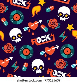 funky vector seamless rock pattern with skull