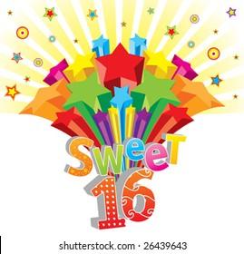 Funky vector Sweet 16 postcard