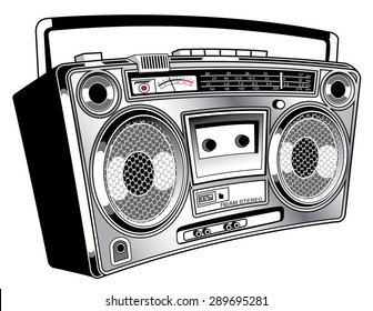 Funky vintage ghetto blaster boom box radio