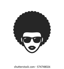 Funky woman in sunglasses with Afro hair