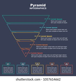 Funnel Business Pyramid Infographic with 5 charts. Vector Illustration.