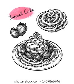 Funnel cake with strawberries and whipped cream. Ink sketch isolated on white background. Hand drawn vector illustration. Retro style.