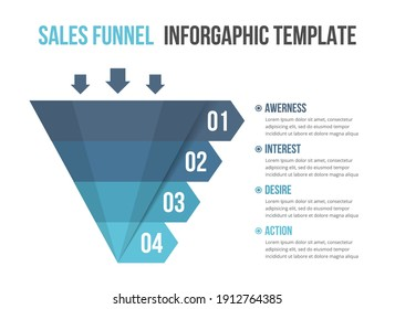 Funnel diagram with 4 elements, infographic template for web, business, presentations, vector eps10 illustration