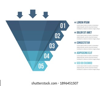 Funnel diagram with 5 elements, infographic template for web, business, presentations, vector eps10 illustration