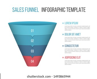 Funnel diagram with four segments, infographic template for web, business, presentations, vector eps10 illustration