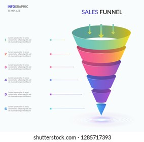 Funnel divided into 6 parts, linear symbols. Concept of six stages of startup development. Modern infographic design template. Vector illustration for presentation
