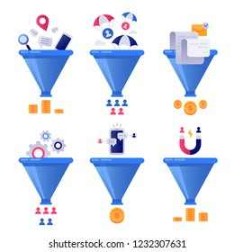 Funnel generation sales. Business lead generations, mail sorter funnels and pipeline sale optimisation or conversion leads optimize segment vector concept illustration isolated icons set
