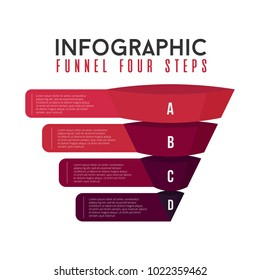 funnel infographic pyramid 4 steps modern style