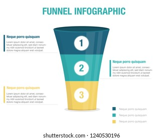 Funnel infographic. three colors. info elements. basic, simple,clean, presentation