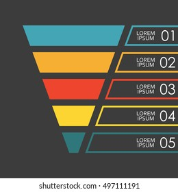 Funnel infographics template. 5 steps, options or levels funnel. Marketing, sales and business infographic design elements. Colorful vector illustration.