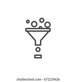 Funnel line icon, outline vector sign, linear style pictogram isolated on white. Data filter symbol, logo illustration