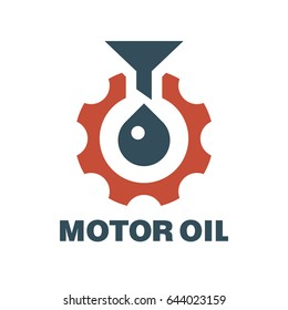Funnel lubricant and gear. Motor oil logo. Vector illustration.