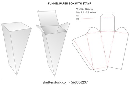 funnel paper box with stamp