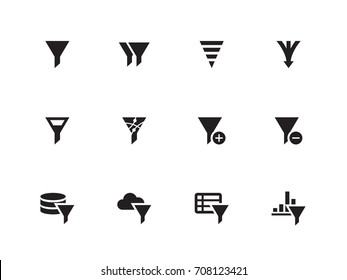 Funnel and Sorting vector icons on white background. Vector illustration.