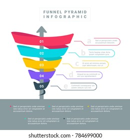 Funnel Spiral Hierarchy Pyramid Colorful with steps and description in simple minimal flat style