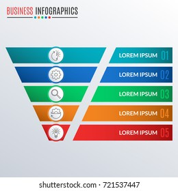 Funnel symbol or cone infographics template. Business pyramid with 5 steps, options or levels. Marketing and sales layout. Vector illustration.