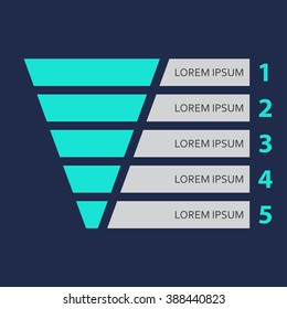 Funnel symbol. Marketing and sales template. Business infographic design element. Colorful vector illustration.