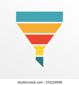 Funnel symbol template for Marketing and Sales. Colorful vector illustration.