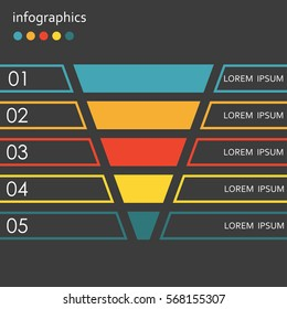 Funnel template. 5 steps, options or levels funnel. Marketing, sales and business infographics design elements. Colorful vector illustration.