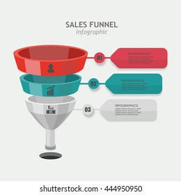 Funnel vector business sales presentation with icons, three different levels. Chart for the report data
