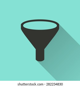 Funnel - vector icon in black on a green background.