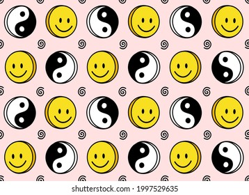 Funny smiley cute face and Yin Yang seamless pattern.Vector doodle cartoon kawaii character illustration icon design.Positive smile faces,Yin Yang,high,trip,techno,70s smiley seamless pattern concept