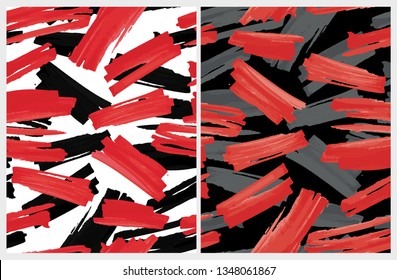 Funny Abstract Paintbrush Lines Vector Pattern. Red and Black Stripes on a White Background. Red and Dark Gray Spots on a Black Layout. Chaotically Painted Abstarct Dabs. Expressive Red Smudges.