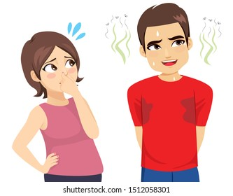 Funny action scene woman suffering ashamed man bad smell sweat